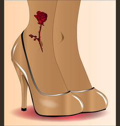 red ankle tattoo vector image