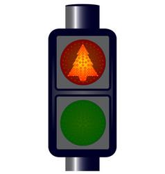 Red christmas tree traffic lights vector