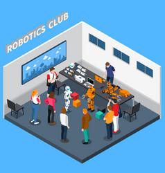 robotics club isometric composition vector image