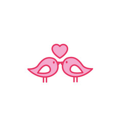 romantic passion love line and fill pink vector image