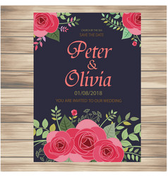 save the date pink roses dark background im vector image