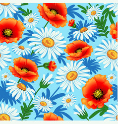 seamless bright with poppies and daisies vector image