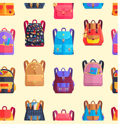 Seamless pattern rucksacks for girls or boy vector