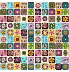 Seamless pattern Sampler doodle flowers leaves vector image