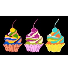 Set cupcakes and muffins vector