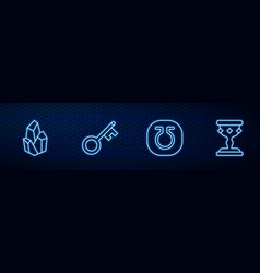 Set line life magic stone old key and medieval vector