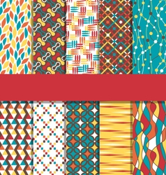 Set of 10 seamless bright abstract patterns vector