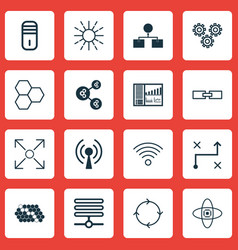 Set of 16 robotics icons includes algorithm vector