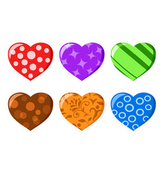 set of hearts decorated in different styles on a vector image