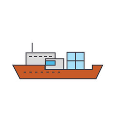 ship line icon concept ship flat sign vector image