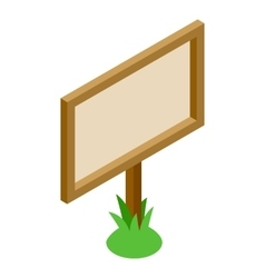 Signboard in the grass 3D isometric icon vector