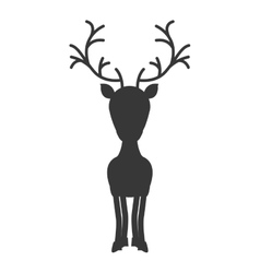Silhouette monochrome with standing reindeer vector