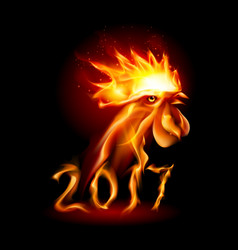 Silhouette of head red cock fire rooster symbolr vector