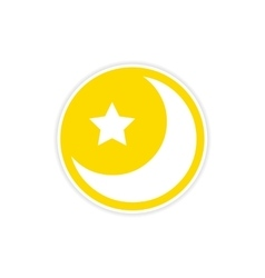 sticker logo moon and star on a white background vector image
