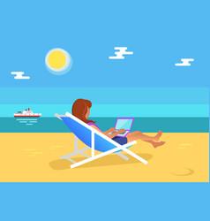 Summer freelancer girl distant worker vector