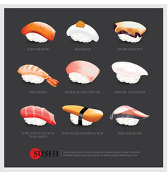 Sushi asian food realistic isolated vector