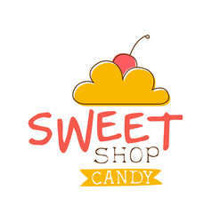 Sweet candy shop logo colorful hand drawn label vector