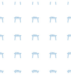 table with plates and pan icon pattern seamless vector image
