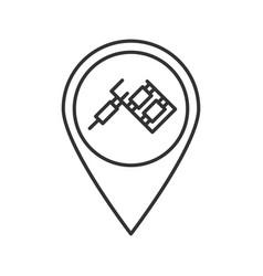 Tattoo studio location linear icon vector