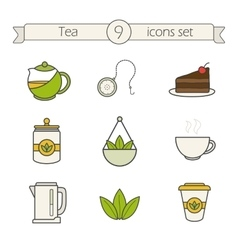Tea icons set Color vector image