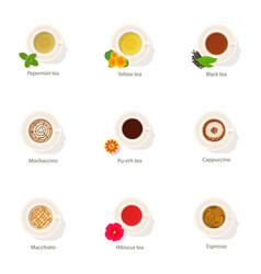 Tea surface icons set cartoon style vector