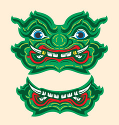 Thai giant monster drawing green yuk thailand vector