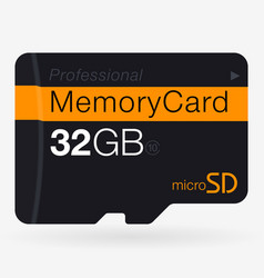 Top view of micro sd memory card isolated on vector