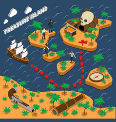 Treasure island isometric composition vector
