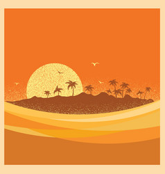 Tropical island with palms and sun poster vector