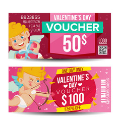 valentine s day voucher coupon template vector image