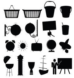 various stuff black silhouette vector image