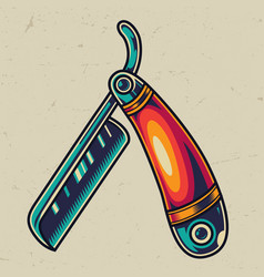 Vintage straight razor colorful template vector