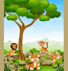 Wild animals cartoon in the jungle vector