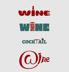 wine logo set typography concept for vineyard vector image