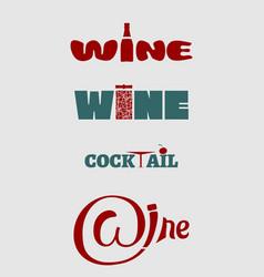 Wine logo set typography concept for vineyard vector