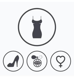 Women dress icon sexy shoe sign perfume vector