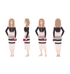 young blonde woman dressed in fashionable clothes vector image