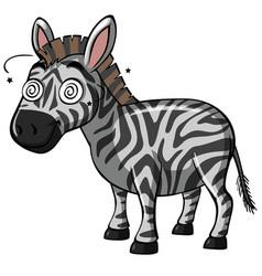 Zebra with dizzy eyes vector