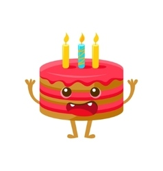 Birthday Cake WIth One Candle Happy Birthday And vector image