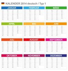 Calendar 2014 German Type 1 vector image vector image