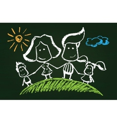 chalked happy family vector image