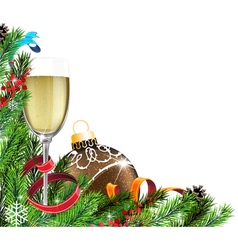 Glass of champagne and christmas tree branches vector