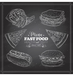 Scetch of fast food menu on a black board vector image