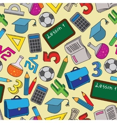 Seamless Pattern with school doodles vector image vector image