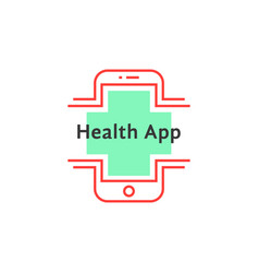 simple health app logo like red thin line phone vector image vector image