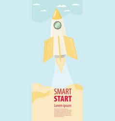 Space rocket flying in sky flat design colored vector
