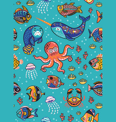 aquatic animals seamless pattern vector image