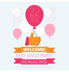 Celebrate or party poster with thumbs up and vector image vector image