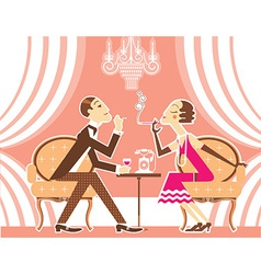 couple of man and woman in vintage vector image