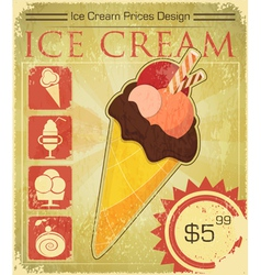 Design Ice cream price vector image